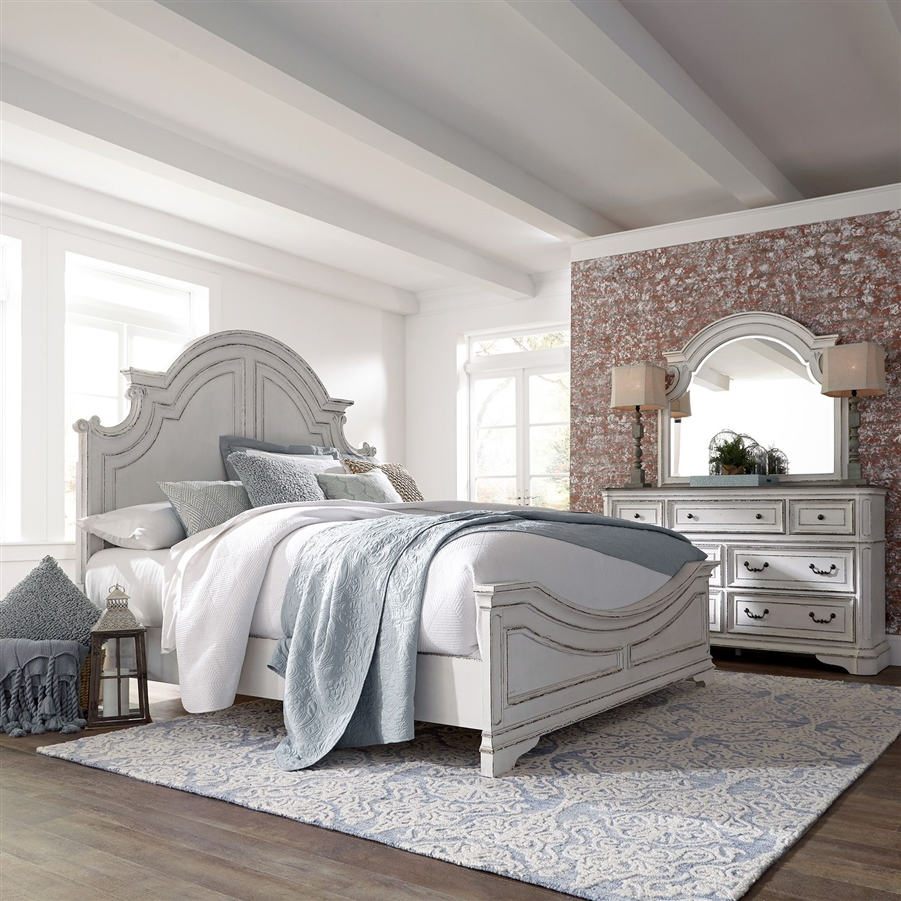 Magnolia Manor Panel Bed in Antique White Finish by Liberty Furniture -  244-BR-QPB