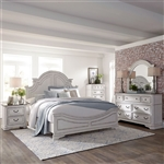 Magnolia Manor Panel Bed 6 Piece Bedroom Set in Antique White Finish by Liberty Furniture - 244-BR-QPBS