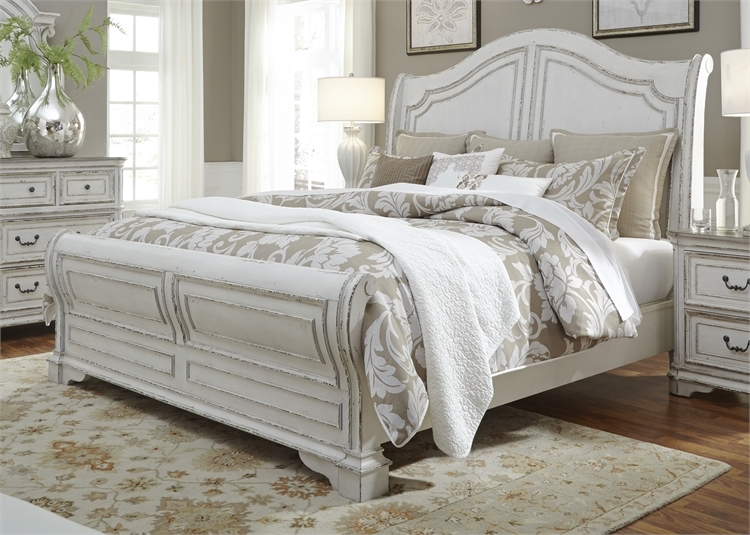 Magnolia Manor Sleigh Bed in Antique White Finish by Liberty Furniture -  244-BR-QSL