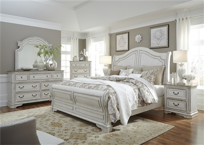 Magnolia Manor Sleigh Bed 6 Piece Bedroom Set in Antique White Finish by Liberty Furniture - 244-BR-QSLDMN
