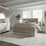Magnolia Manor Upholstered Sleigh Bed 6 Piece Bedroom Set in Antique White Finish by Liberty Furniture - 244-BR-QSLUS