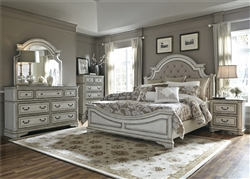 Magnolia Manor Upholstered Bed 6 Piece Bedroom Set in Antique White Finish by Liberty Furniture - 244-BR-QUBDMN