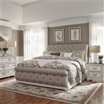 Magnolia Manor Upholstered Sleigh Bed in Antique White Finish by Liberty Furniture - 244-BR-QUSL