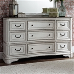 Magnolia Manor 9 Drawer Dresser in Antique White Finish by Liberty Furniture - 244-BR34