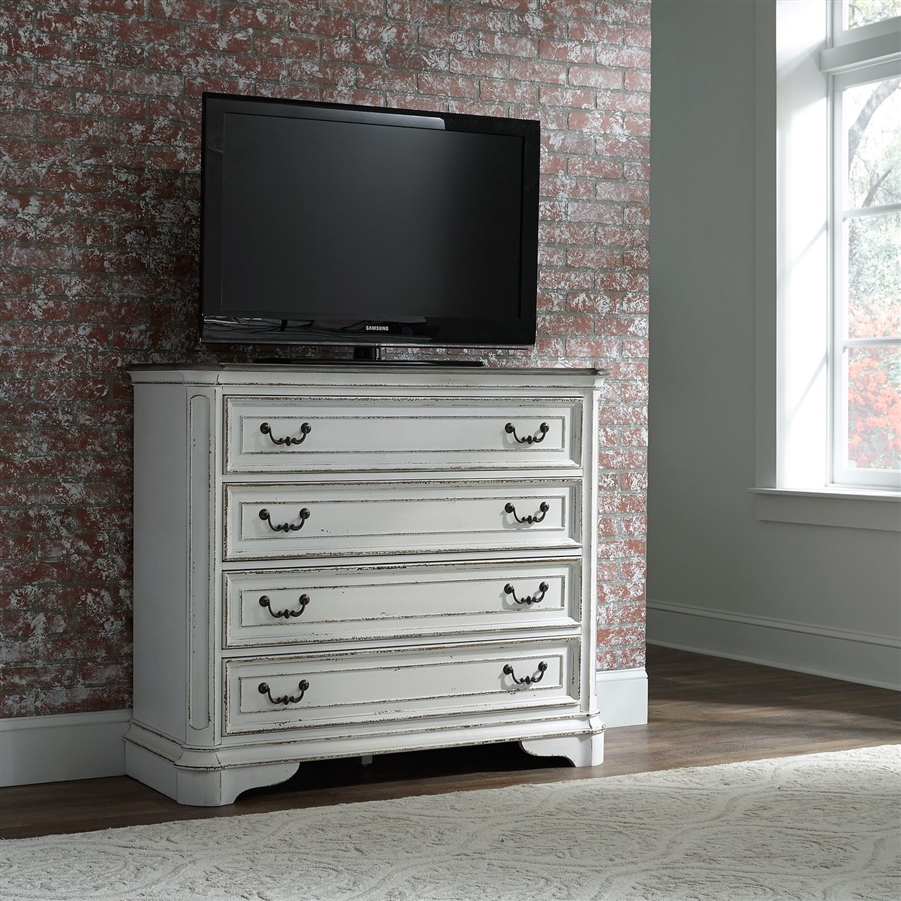 Magnolia Manor Media Chest In Antique White Finish By Liberty Furniture 244 Br45
