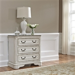 Magnolia Manor 3 Drawer Bedside Chest in Antique White Finish by Liberty Furniture - 244-BR64