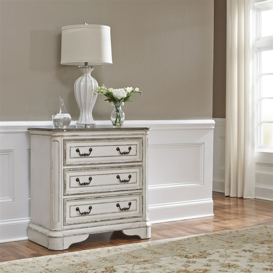 Magnolia Manor 3 Drawer Bedside Chest in Antique White Finish by Liberty Furniture - 244-BR64 & Magnolia Manor 3 Drawer Bedside Chest in Antique White Finish by ...