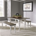 Magnolia Manor Nook Rectangular Table 3 Piece Dining Set in Antique White Finish by Liberty Furniture - 244-CD-3PCS