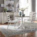 Magnolia Manor Drop Leaf Table 5 Piece Ladder Back Chair Dining Set in Antique White Finish by Liberty Furniture - 244-CD-5DLS