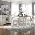 Magnolia Manor Gathering Counter Height Table 5 Piece Ladder Back Chairs Dining Set in Antique White Finish by Liberty Furniture - 244-CD-5GTS