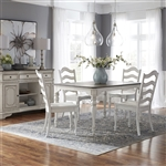 Magnolia Manor Leg Table 5 Piece Ladder Back Chair Dining Set in Antique White Finish by Liberty Furniture - 244-CD-5LTS