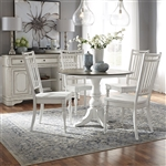 Magnolia Manor Drop Leaf Table 5 Piece Spindle Back Chair Dining Set in Antique White Finish by Liberty Furniture - 244-CD-O5DLS