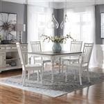 Magnolia Manor Leg Table 5 Piece Spindle Back Chair Dining Set in Antique White Finish by Liberty Furniture - 244-CD-O5LTS
