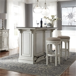 Magnolia Manor 3 Piece Bar Set with Marble Top in Antique White Finish by Liberty Furniture - 244-DR-3PB
