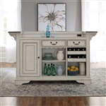 Magnolia Manor Bar Unit with Marble Top in Antique White Finish by Liberty Furniture - 244-DR-BU