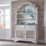 Magnolia Manor Buffet and Hutch in Antique White Finish by Liberty Furniture - 244-DR-HB