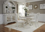 Magnolia Manor 5 Piece Pedestal Table Set in Antique White Finish by Liberty Furniture - 244-DR-O5PED