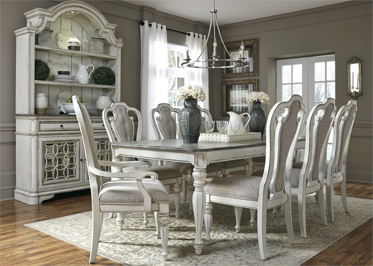 Magnolia Manor 44 X 108 Rectangular Table 7 Piece Dining Set In Antique  White Finish By ...