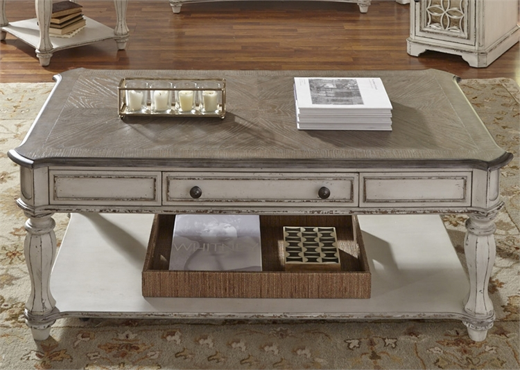 LIB 244 ENT 7 Antique White Coffee Table And End Tables