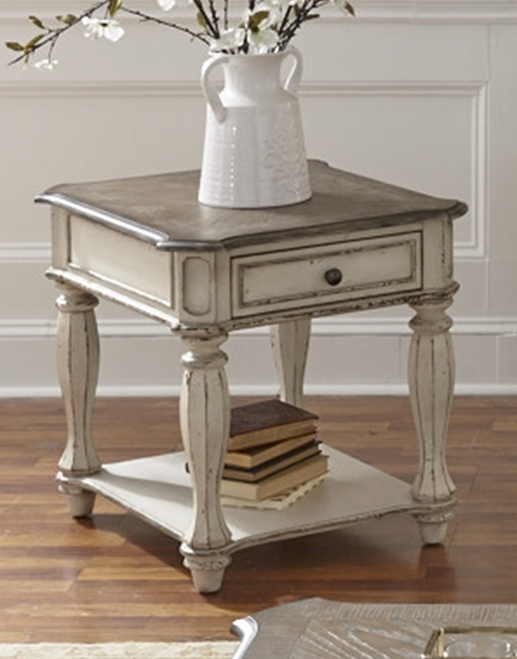 Magnolia Manor Entertainment Center in Antique White Finish by