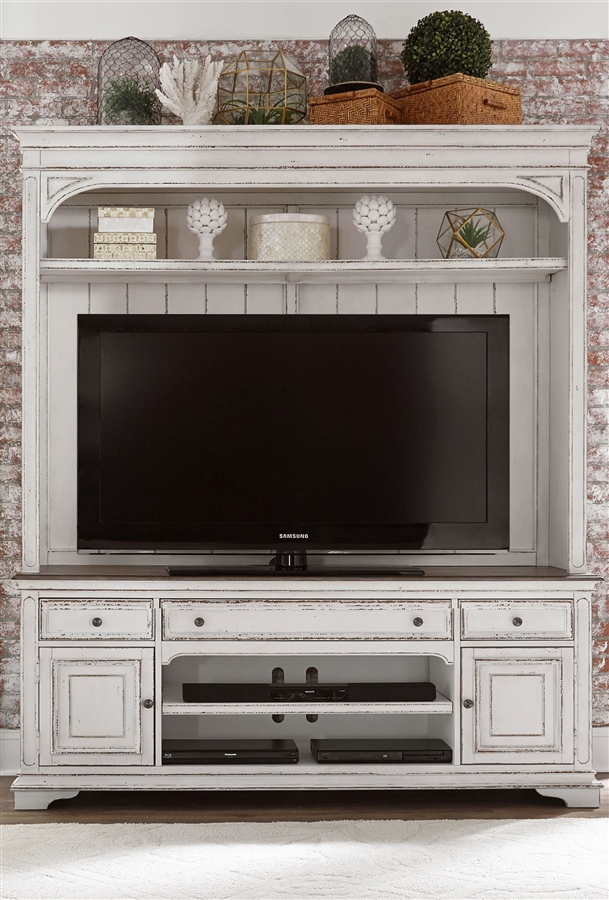 Magnolia Manor 2 Piece Entertainment Center In Antique White Finish By Liberty Furniture 244 Entw