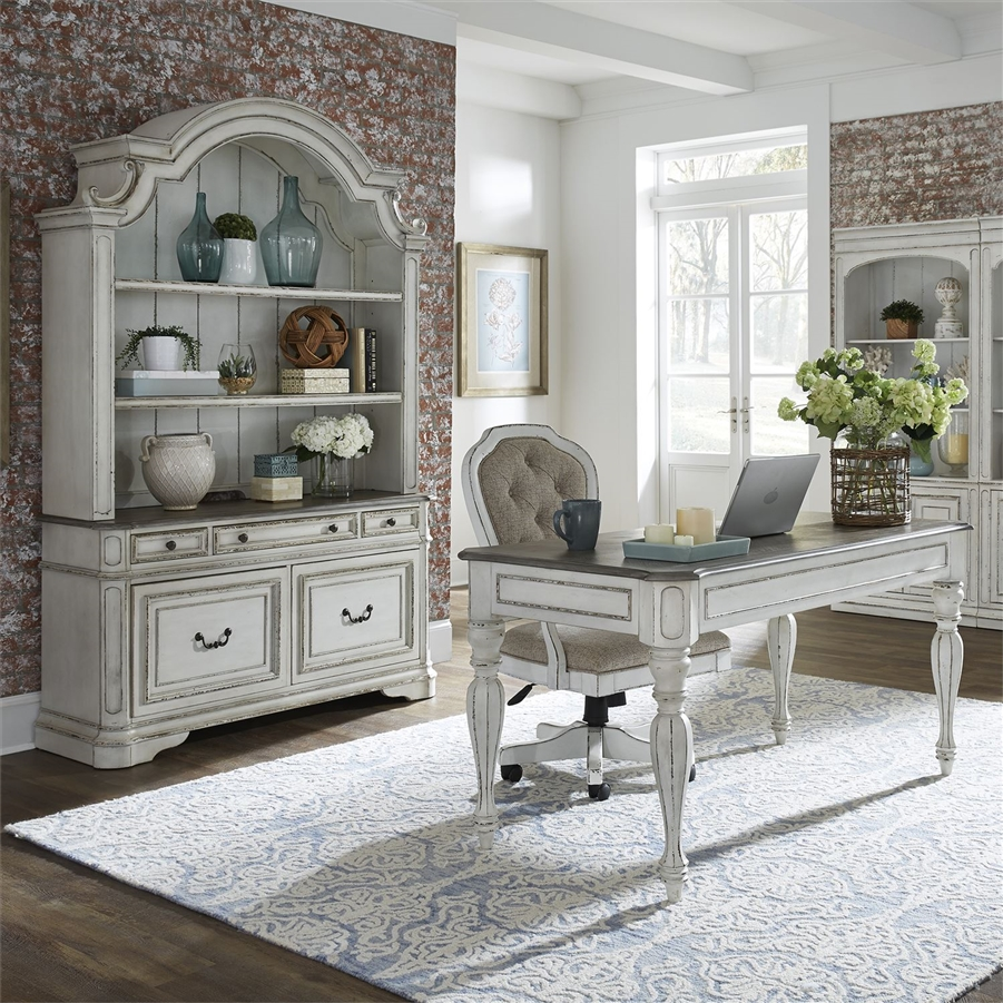 Magnolia Manor 3 Piece Home Office Set In Antique White Finish By Liberty  Furniture   244 HO 3DH