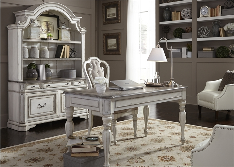 Magnolia Manor 3 Piece Home Office Set In Antique White Finish By Liberty Furniture 244 Ho H