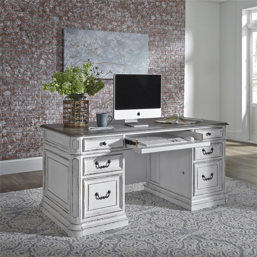 Magnolia Manor Jr Executive Desk in Antique White Finish by Liberty  Furniture - 244-HO105 - Magnolia Manor Jr Executive Desk In Antique White Finish By Liberty