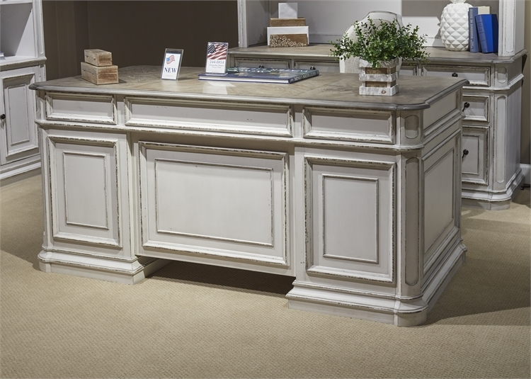 Magnolia Manor Jr Executive Desk in Antique White Finish by Liberty  Furniture - 244-HO105
