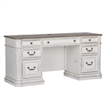Magnolia Manor Jr Executive Credenza in Antique White Finish by Liberty Furniture - 244-HO120