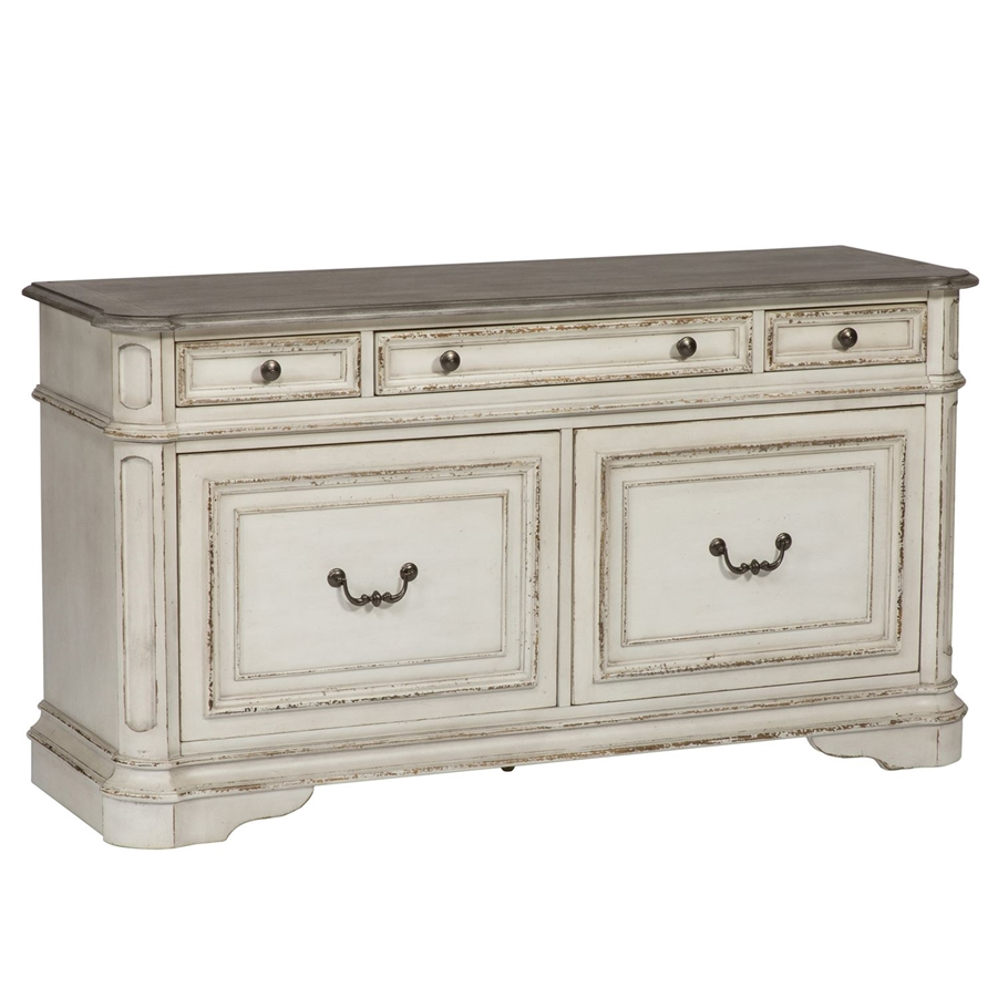 Magnolia Manor Credenza File Cabinet In Antique White Finish By Liberty  Furniture   244 HO121