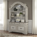 Magnolia Manor Credenza and Hutch in Antique White Finish by Liberty Furniture - 244-HO131