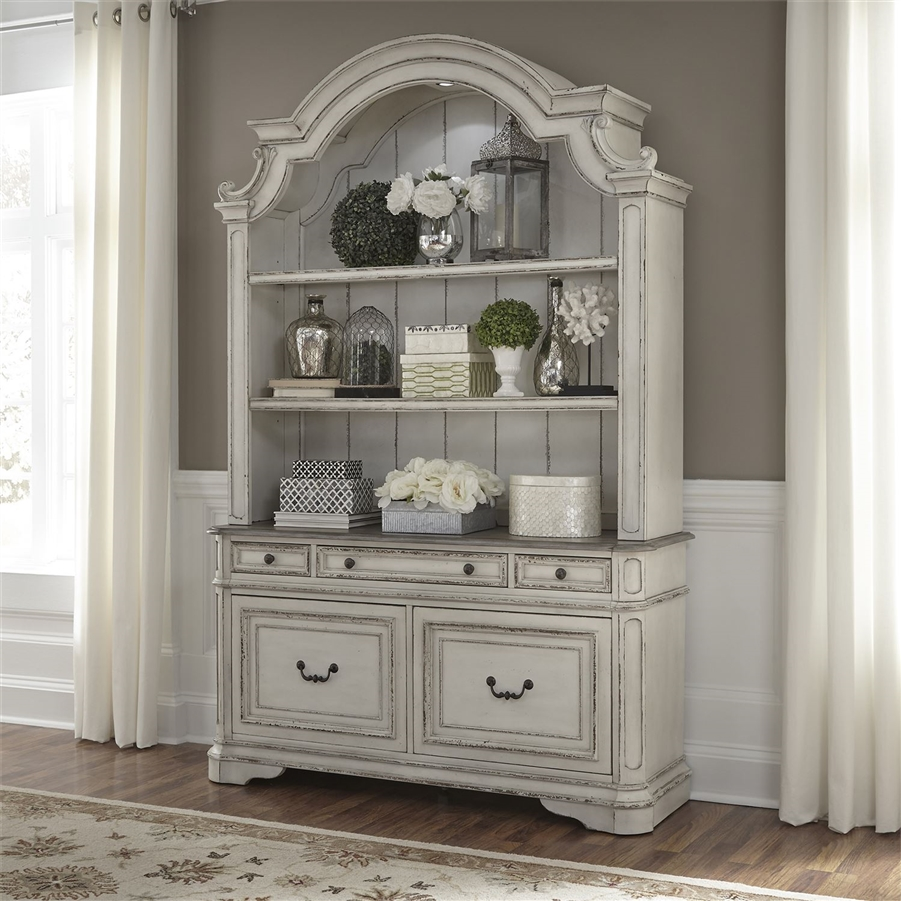Magnolia Manor Credenza And Hutch In Antique White Finish By Liberty Furniture 244 Ho131