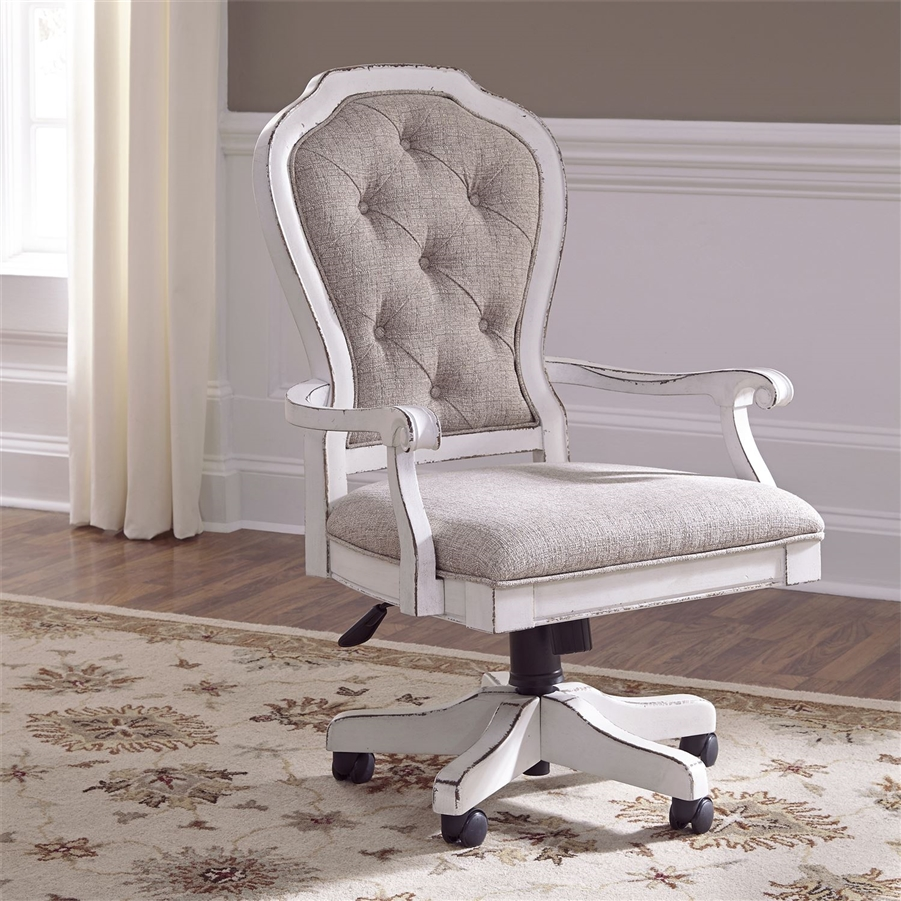 Magnolia Manor Jr Executive Desk Chair in Antique White Finish by Liberty  Furniture - 244-HO197 - Magnolia Manor Jr Executive Desk Chair In Antique White Finish By