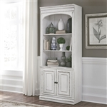 Magnolia Manor Bunching Bookcase in Antique White Finish by Liberty Furniture - 244-HO201