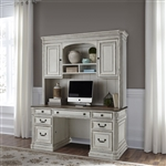 Magnolia Manor Jr Executive Credenza and Hutch in Antique White Finish by Liberty Furniture - 244-HOJ-CHS