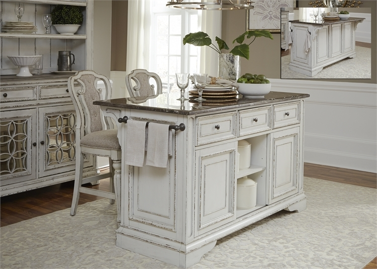 Magnolia Manor Kitchen Island With Granite In Antique White Finish By Liberty Furniture 244 It6032g