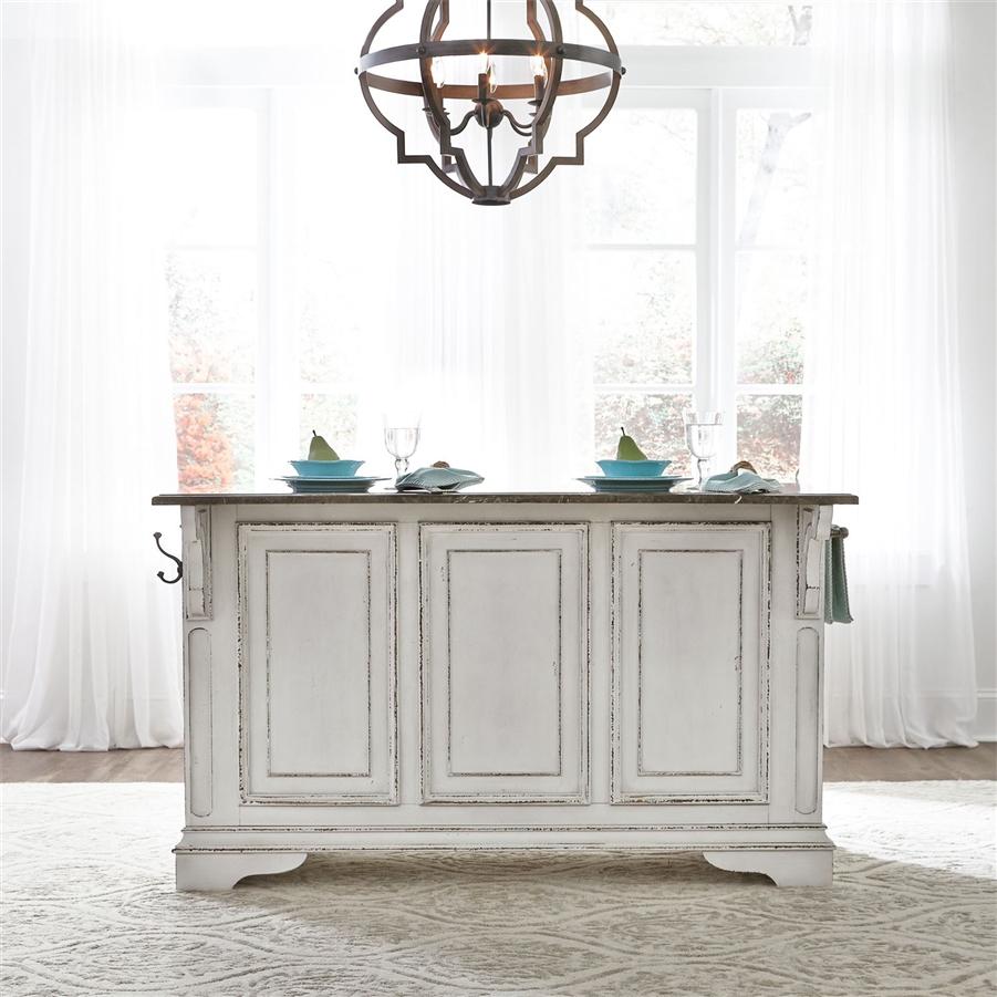 Magnolia Manor Kitchen Island With Granite In Antique White Finish - Magnolia kitchen island