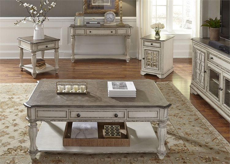 Lovely Magnolia Manor Rectangular Cocktail Table in Antique White Finish  NT78