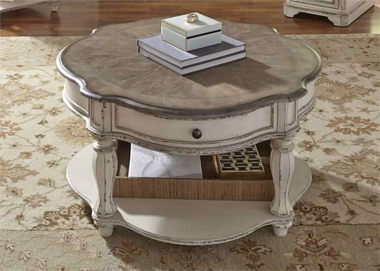 Phenomenal Magnolia Manor Round Cocktail Table In Antique White Finish By Liberty Furniture 244 Ot1011 Ibusinesslaw Wood Chair Design Ideas Ibusinesslaworg