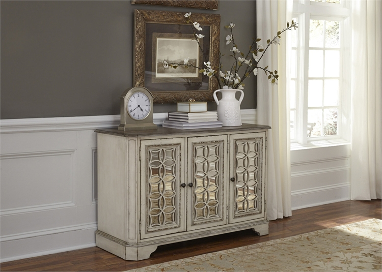 Magnolia Manor 51 Inch Tv Console Accent Cabinet In Antique White Finish By Liberty Furniture 244 Ot1031