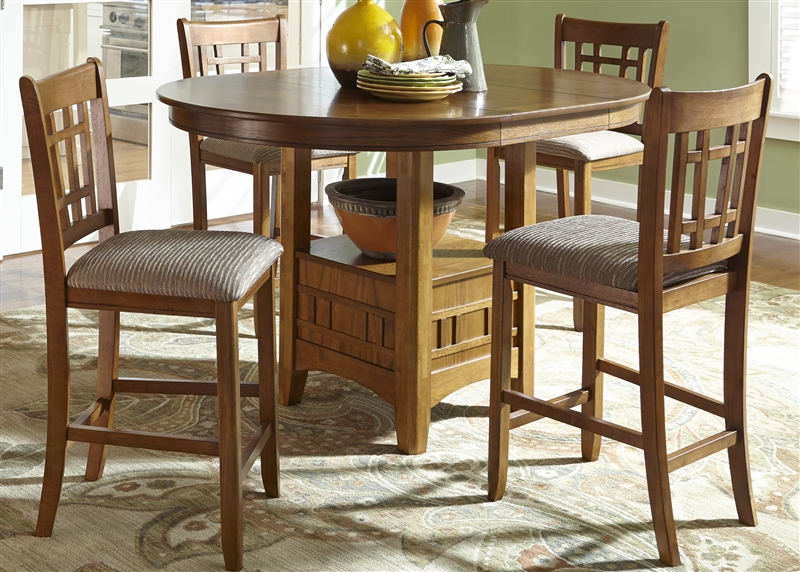 Santa Rosa Pub Table 3 Piece Dining Set In Mission Oak Finish By Liberty  Furniture   25 PUB4260