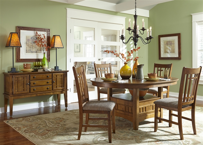 Santa Rosa Pedestal Table 5 Piece Dining Set In Mission