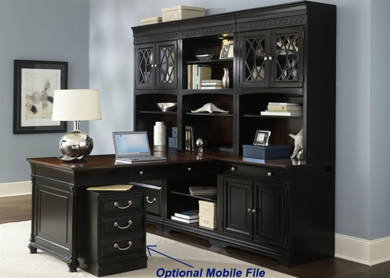 St. Ives Executive Home Office Peninsula Set With Hutch In Two Tone Finish  By Liberty Furniture   260 HO