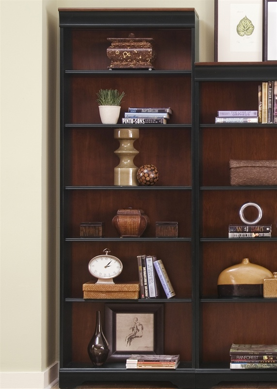 St. Ives 84-Inch Jr Executive Bookcase in Two Tone Finish by Liberty  Furniture - 260-HO3084 - St. Ives 84-Inch Jr Executive Bookcase In Two Tone Finish By