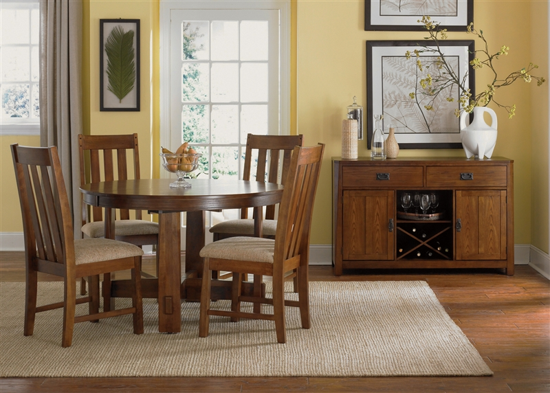 Urban Mission Leg Table 5 Piece Dining Set In Dark Mission Oak