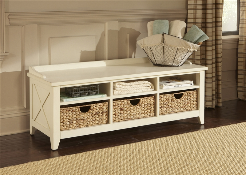 Sensational Hearthstone Cubby Storage Bench In Rustic White Finish By Liberty Furniture 282 Ot47 Machost Co Dining Chair Design Ideas Machostcouk