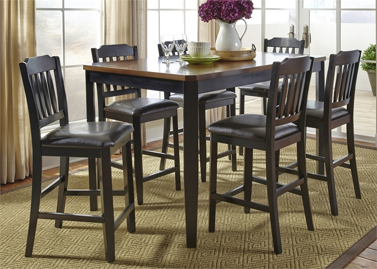 Devonwood Gathering Counter Height Table 7 Piece Dining Set In Black And  Cherry Two Tone Finish By Liberty Furniture   284 CD 7GTS