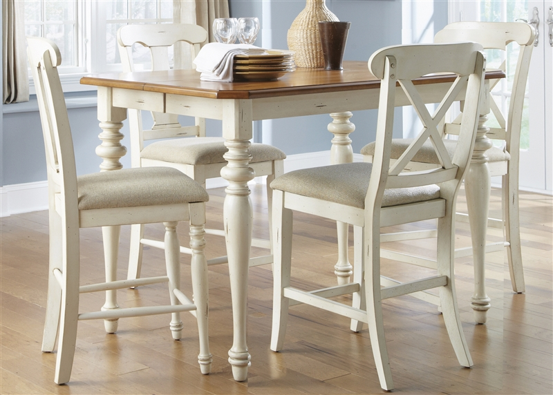 Ocean Isle 5 Piece X Back Chairs Counter Height Gathering Table Set In Bisque With Natural Pine