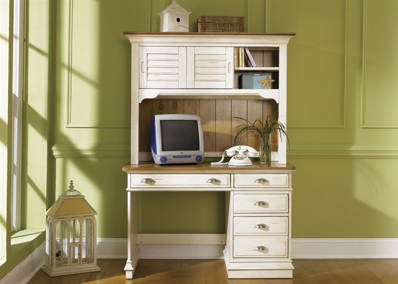 Ocean Isle Youth Desk And Hutch In Bisque With Natural Pine Finish By Liberty Furniture 303 Br70b